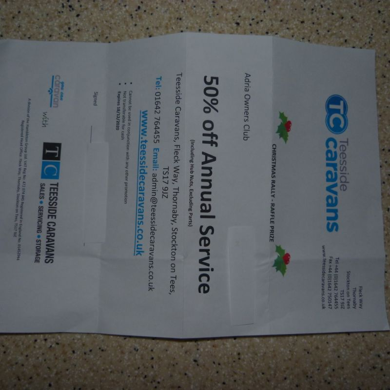 Adria Service Voucher for sale